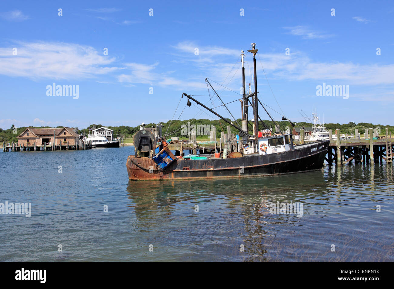 commercial fishing boat montauk long island ny stock photo
