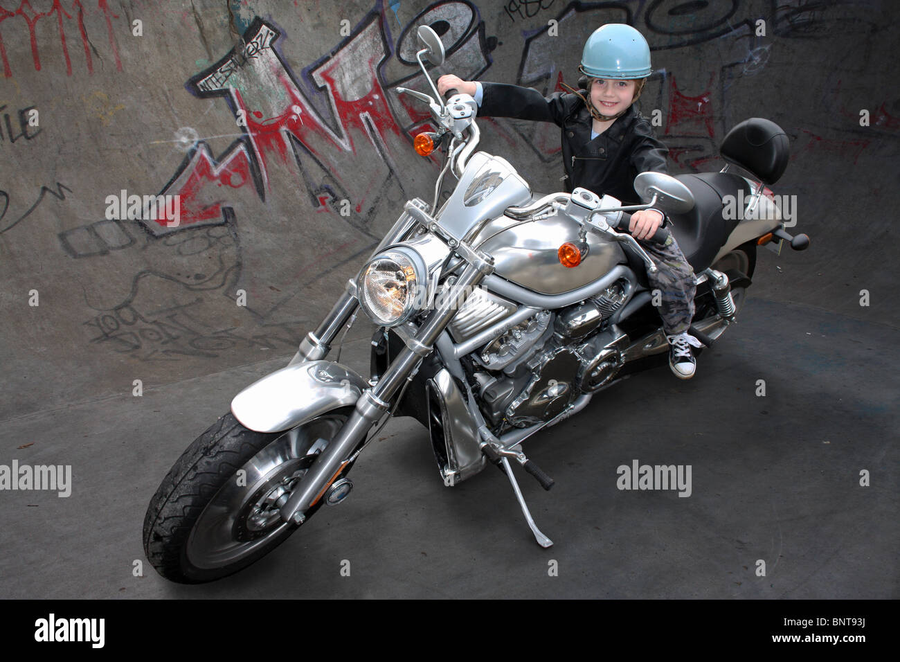 Little boy on a big motorcycle Stock Photo, Royalty Free Image ...