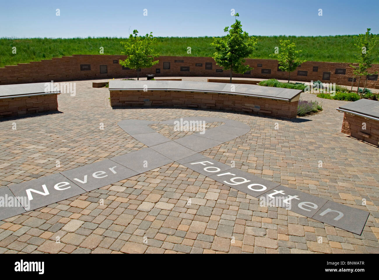 Entrance to Columbine High School Memorial showing the ...