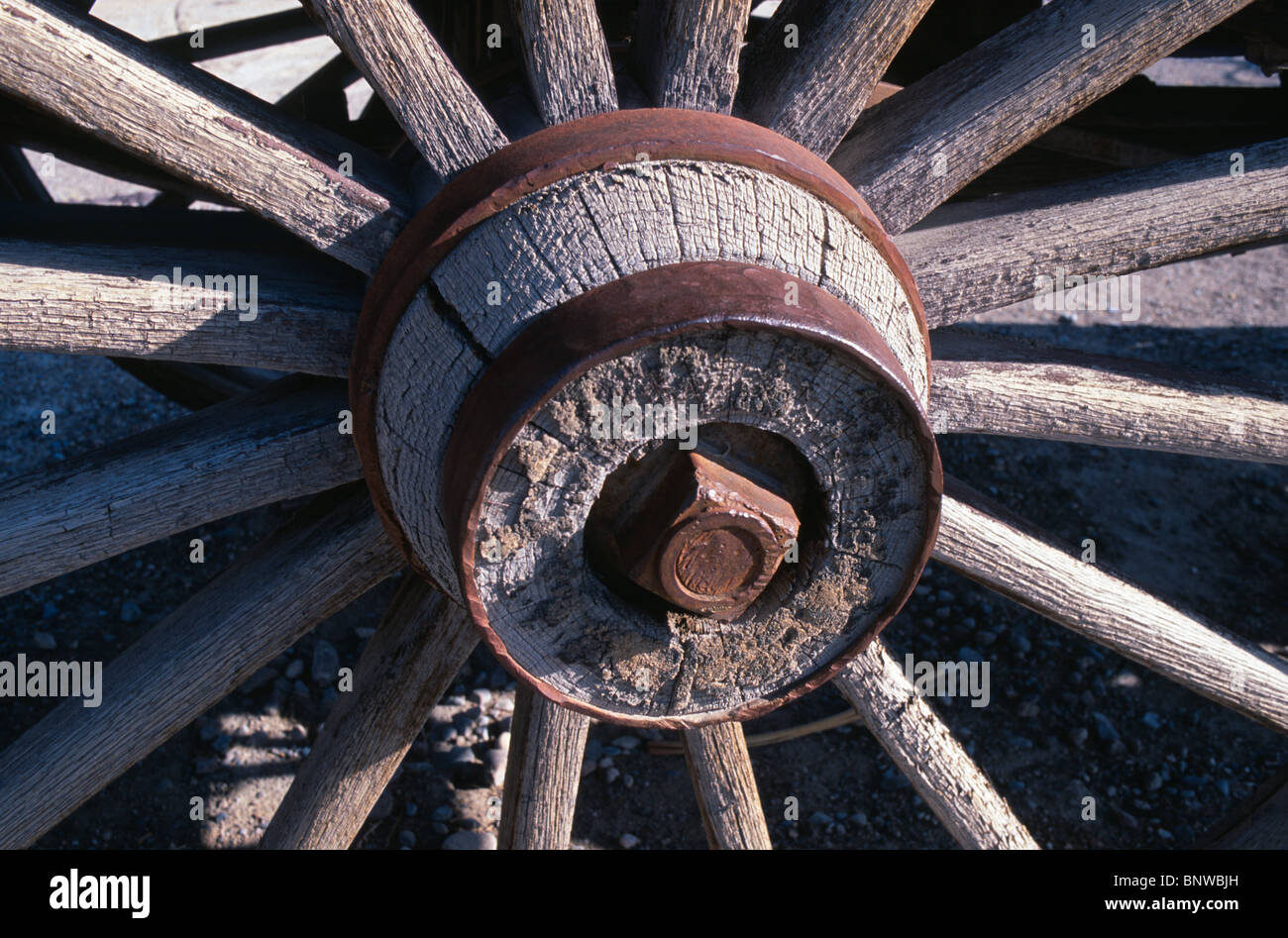 Wooden Axle Hub : Wooden hub and spokes of antique stage coach wagon wheel
