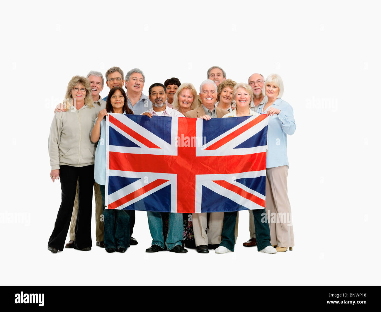 group of people holding the british flag stock photo royalty free