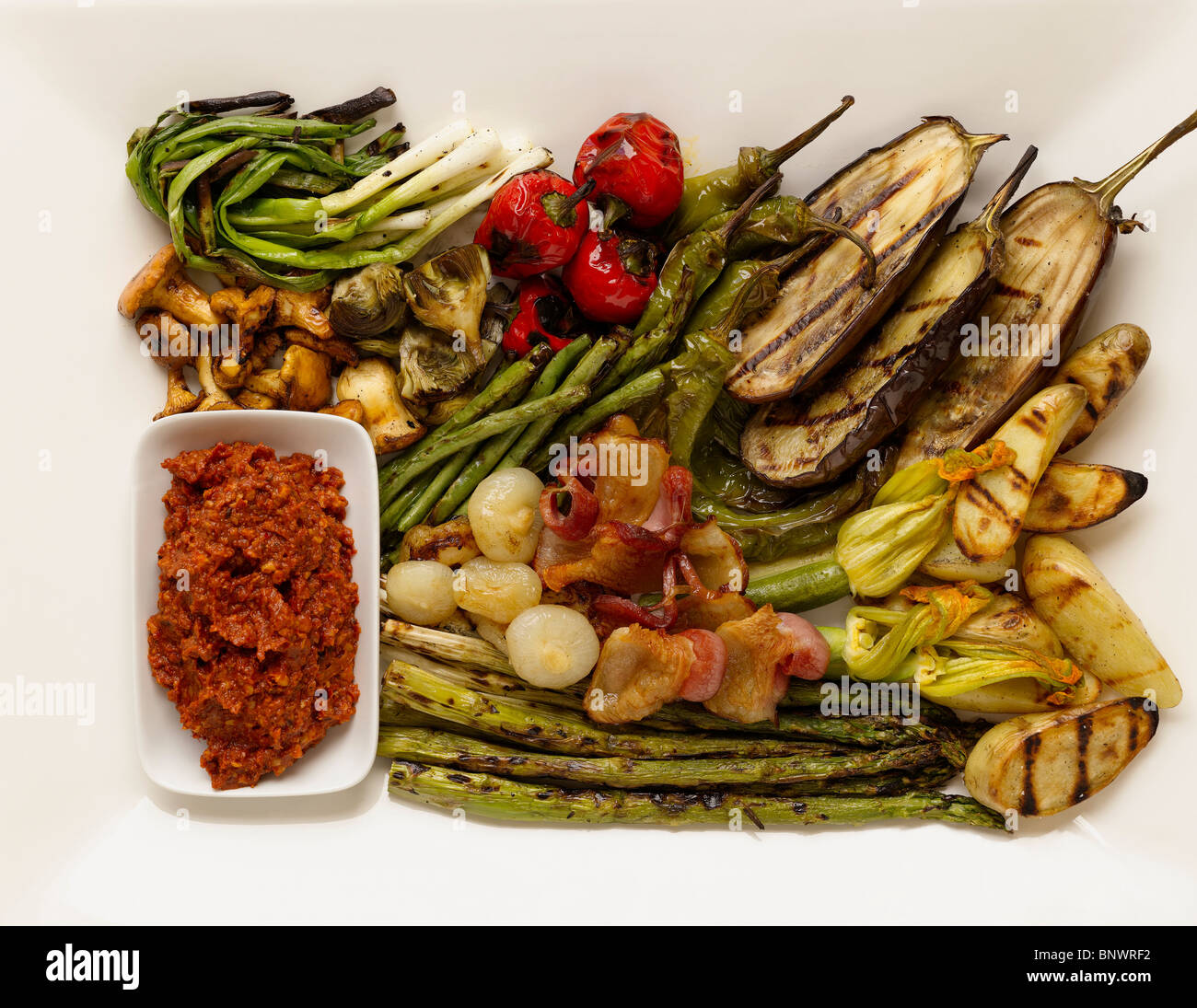 Mini escalivada, grilled vegetables with romesco sauce Stock Photo ...