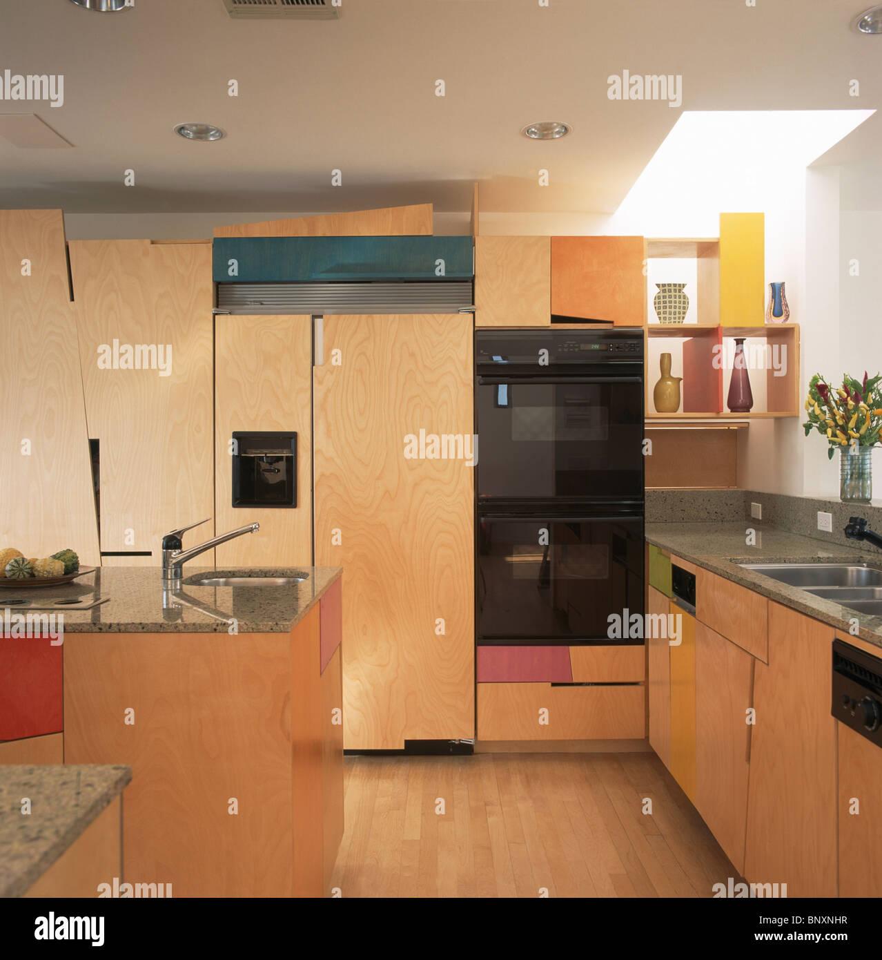 Large Capacity American Fridge Freezer Part - 47: Large White American-style Fridge-freezer And Eye-level Oven In Modern  Kitchen