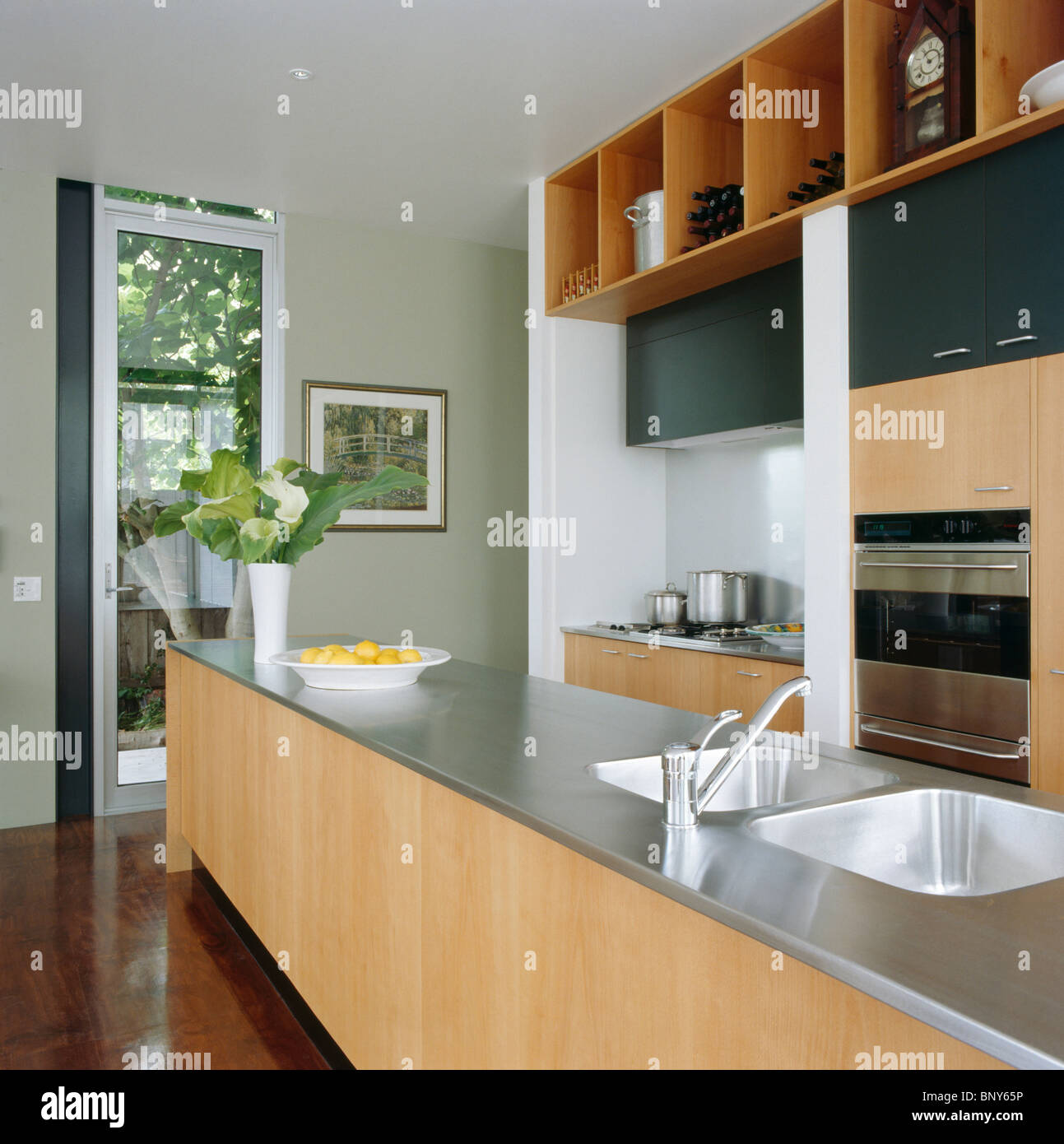 Stainless Steel Worktop And Double Sink In Island Unit In