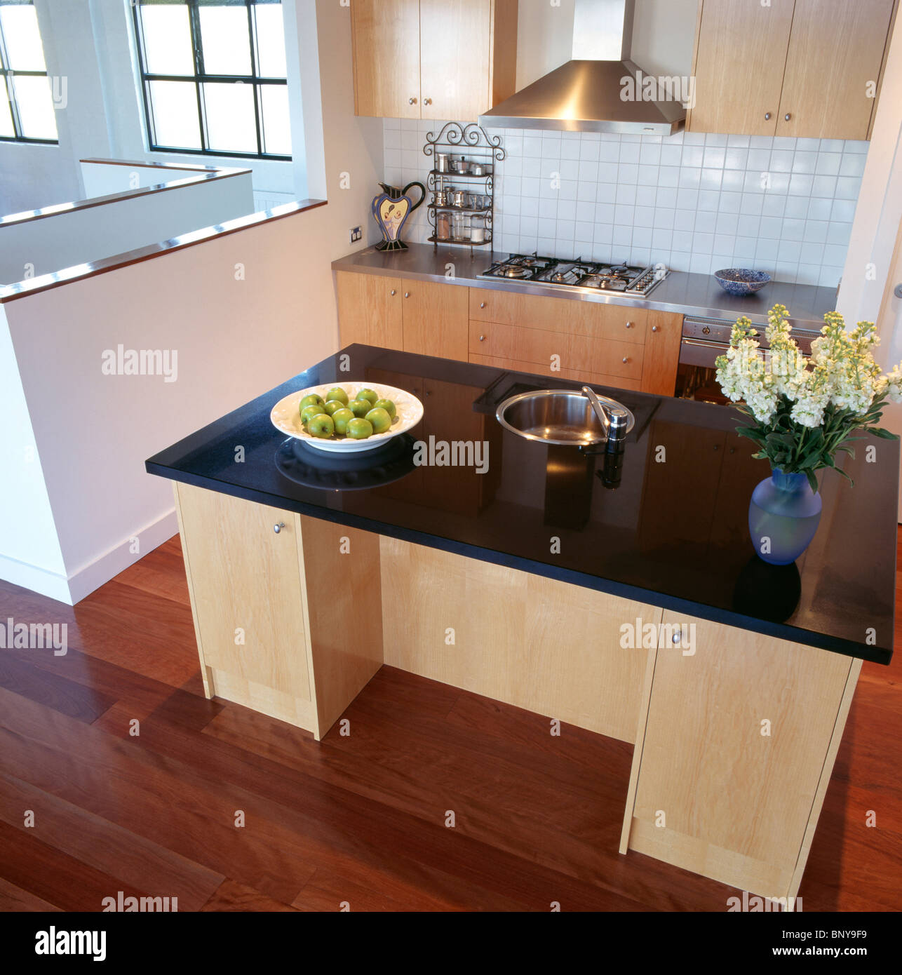 Small Stainless Steel Circular Sink In Pale Wood Island Unit With Stock Photo Royalty Free