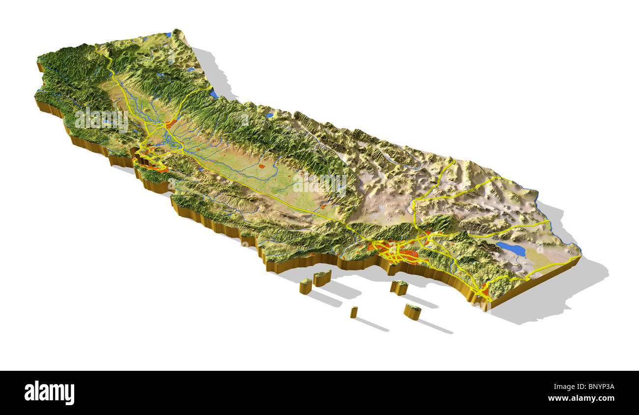 california d relief map cutout with urban areas and interstate  - california d relief map cutout with urban areas and interstate highways