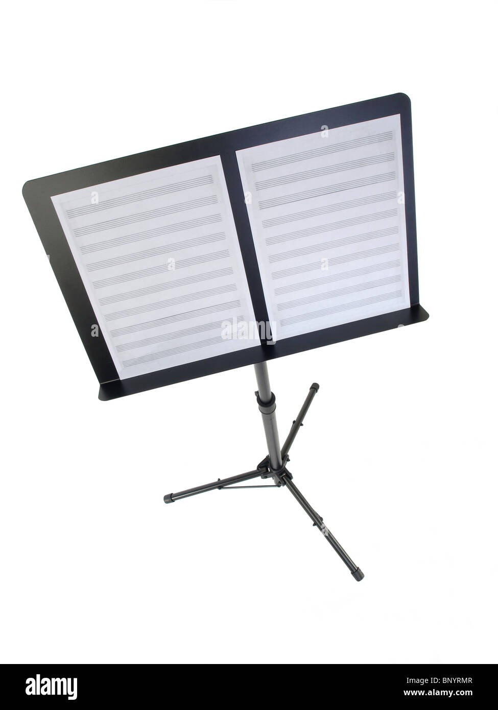Empty room with chair violin and sheet music on floor photograph - Music Stand With Blank Sheet Music Paper Stock Image