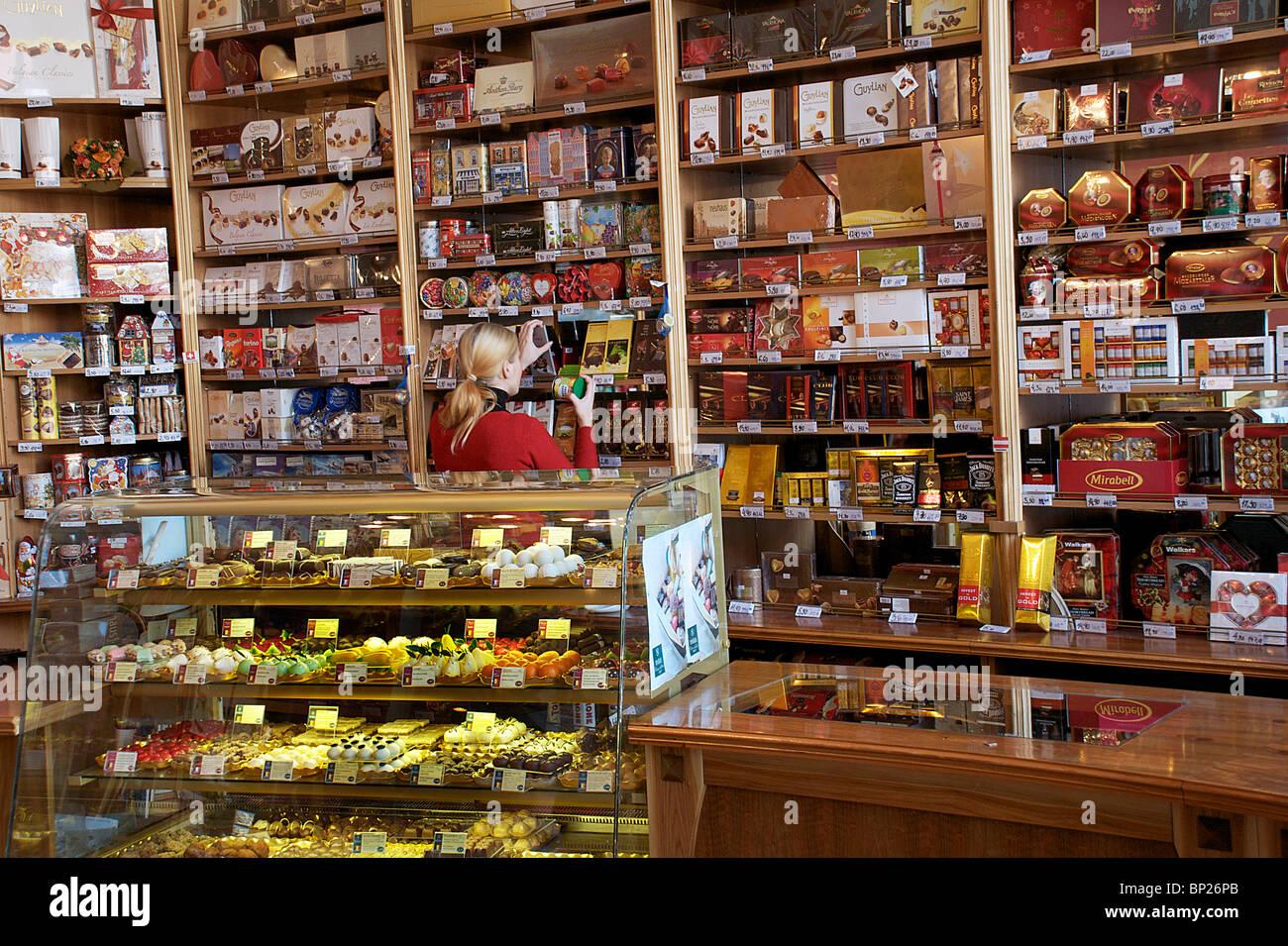 CHOCOLATE SHOP INTERIOR, BRATISLAVA, SLOVAKIA Stock Photo, Royalty ...