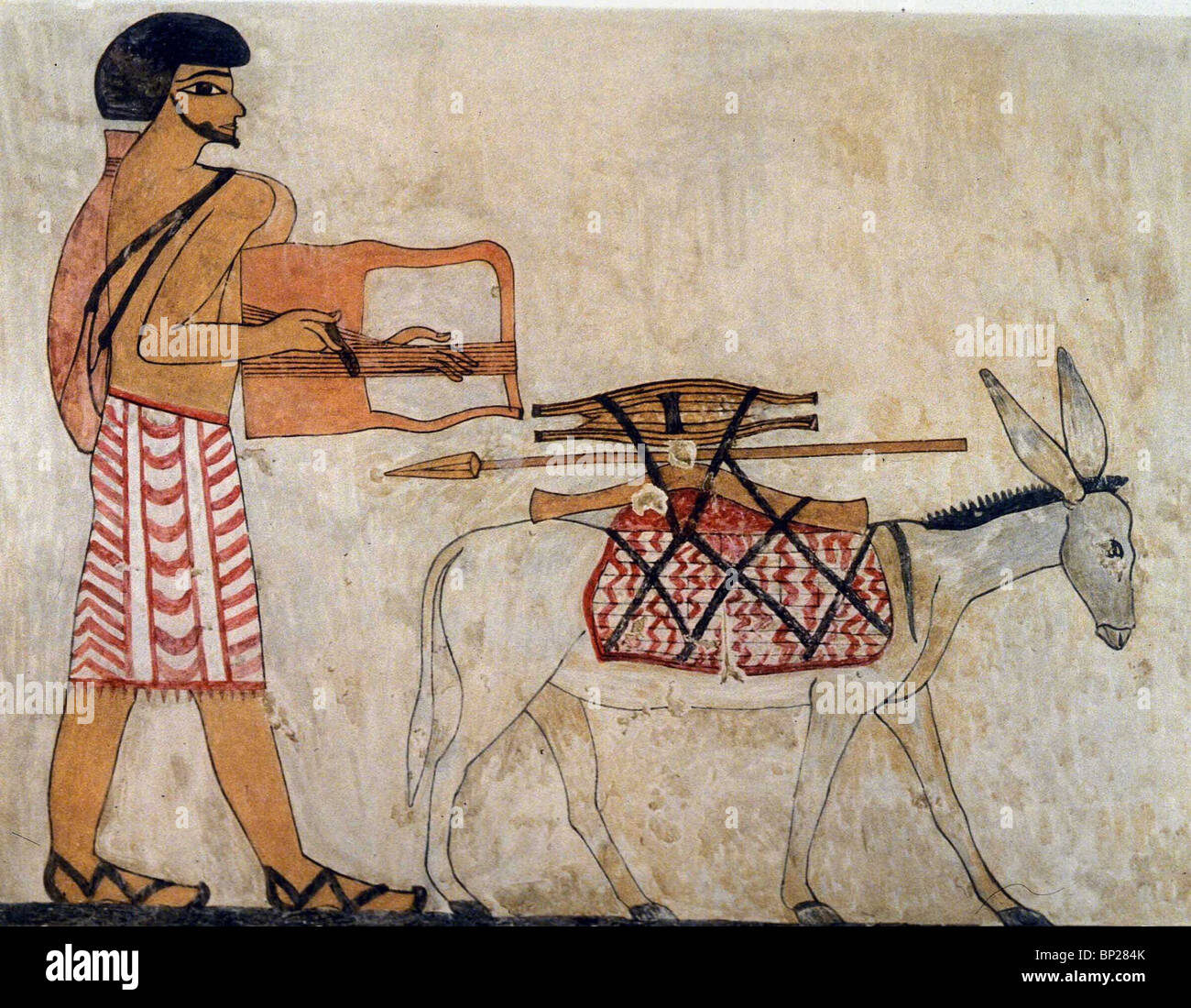 1820 semite man with donkey wall painting from beni for Beni hasan mural