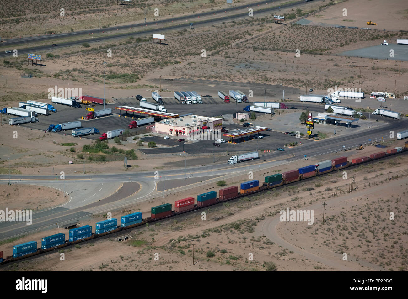 aerial view above truck stop rail road interstate 10 new mexico stock photo