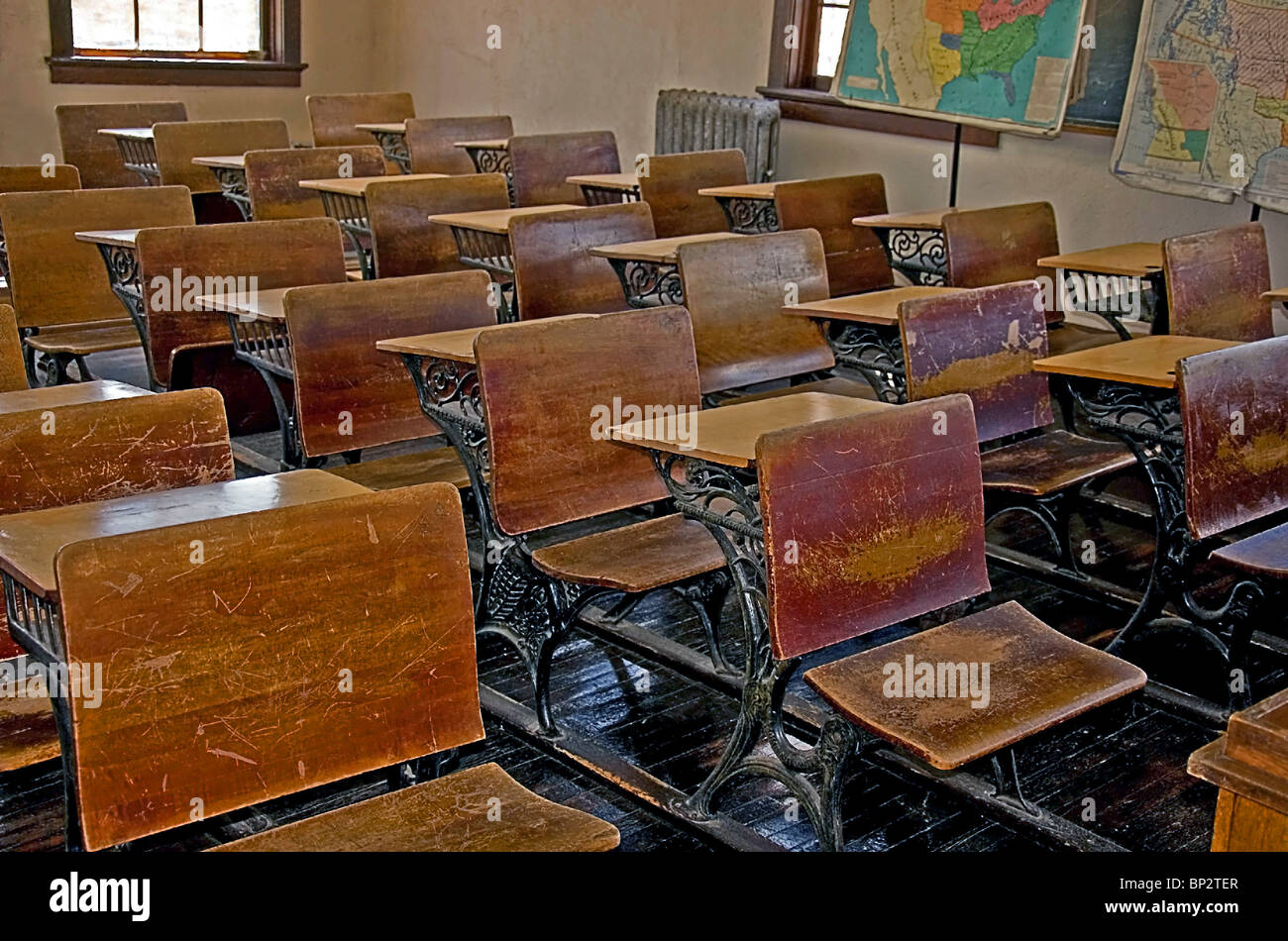 Vintage Turn Of The Century Old School Classroom With The
