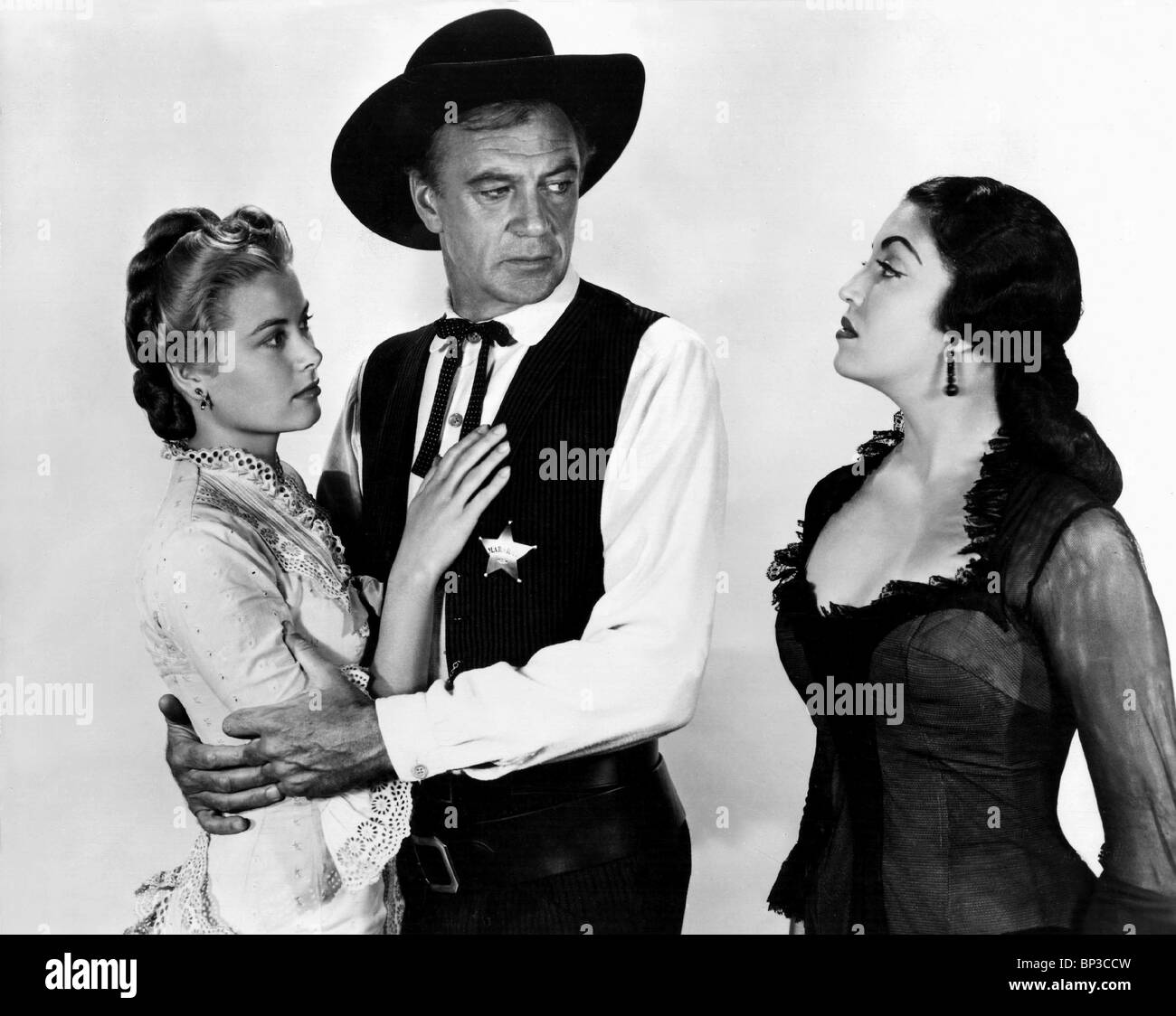 grace kelly gary cooper katy jurado high noon 1952 stock