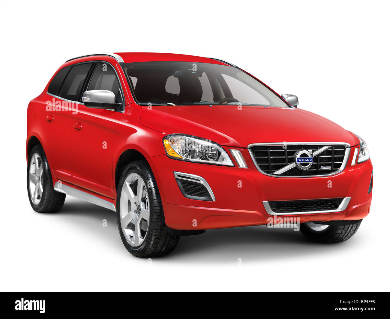 red 2010 volvo xc60 t6 awd r design midsize suv the safest car to stock photo royalty free. Black Bedroom Furniture Sets. Home Design Ideas