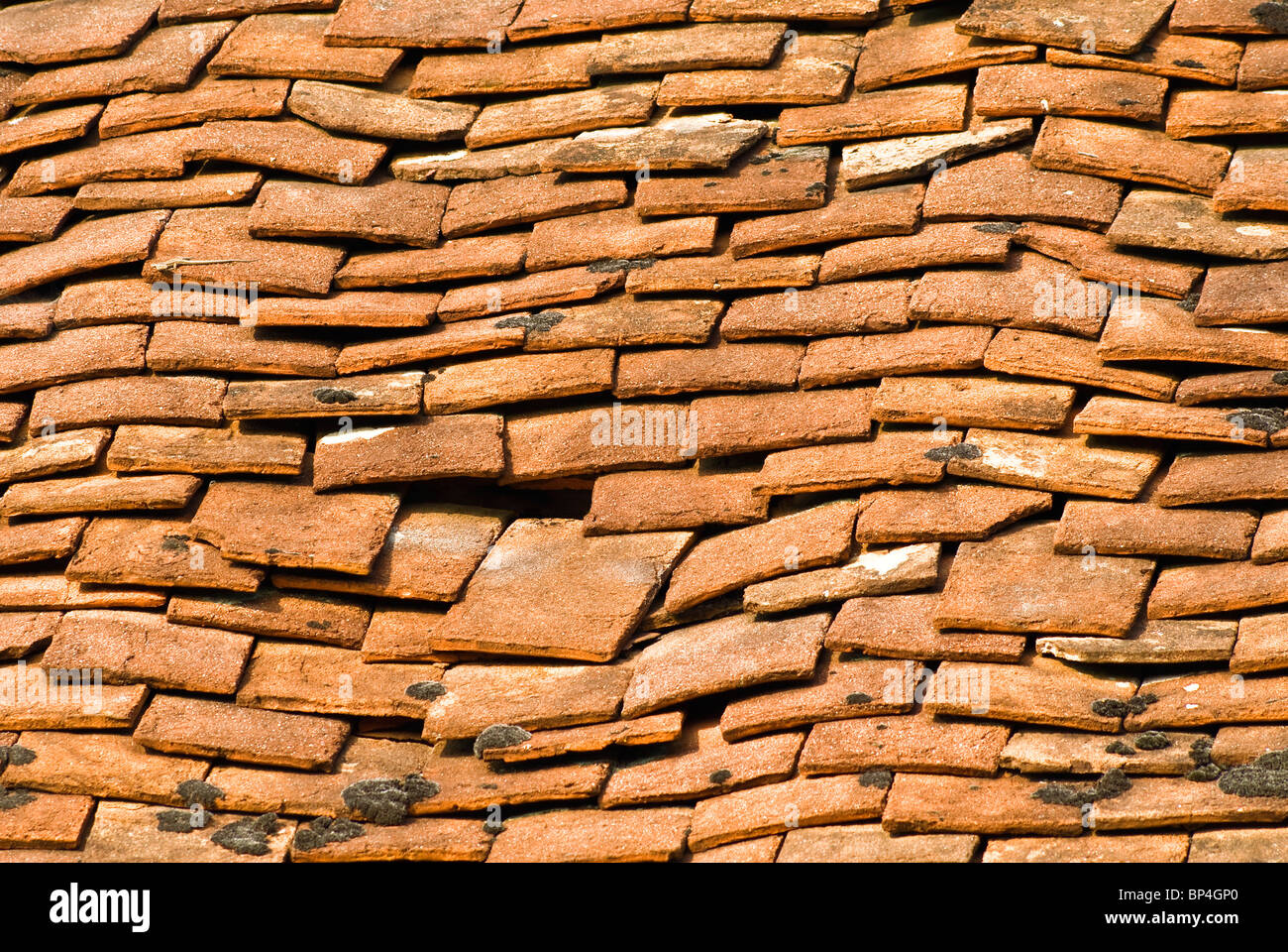 Broken Clay Roof Tiles On Old House France Stock Photo