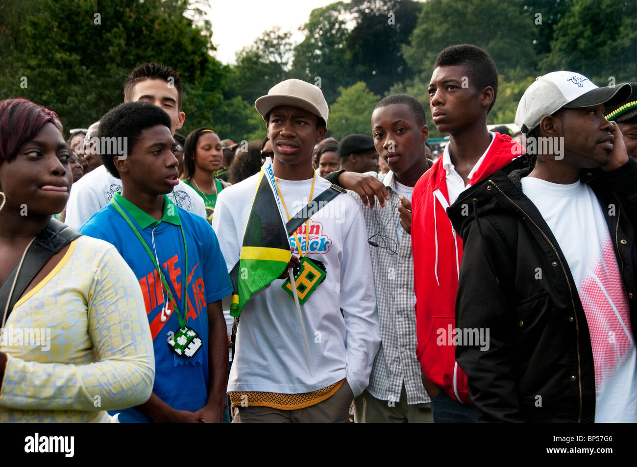 Caribbean People: Group Of Afro Caribbean Youths At West Indian Jamaican