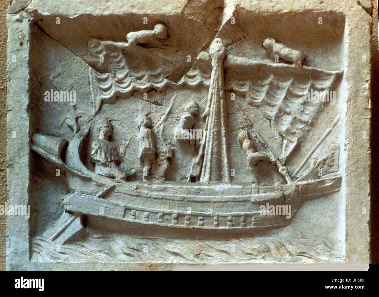 Roman merchant ship stone carving from pompei