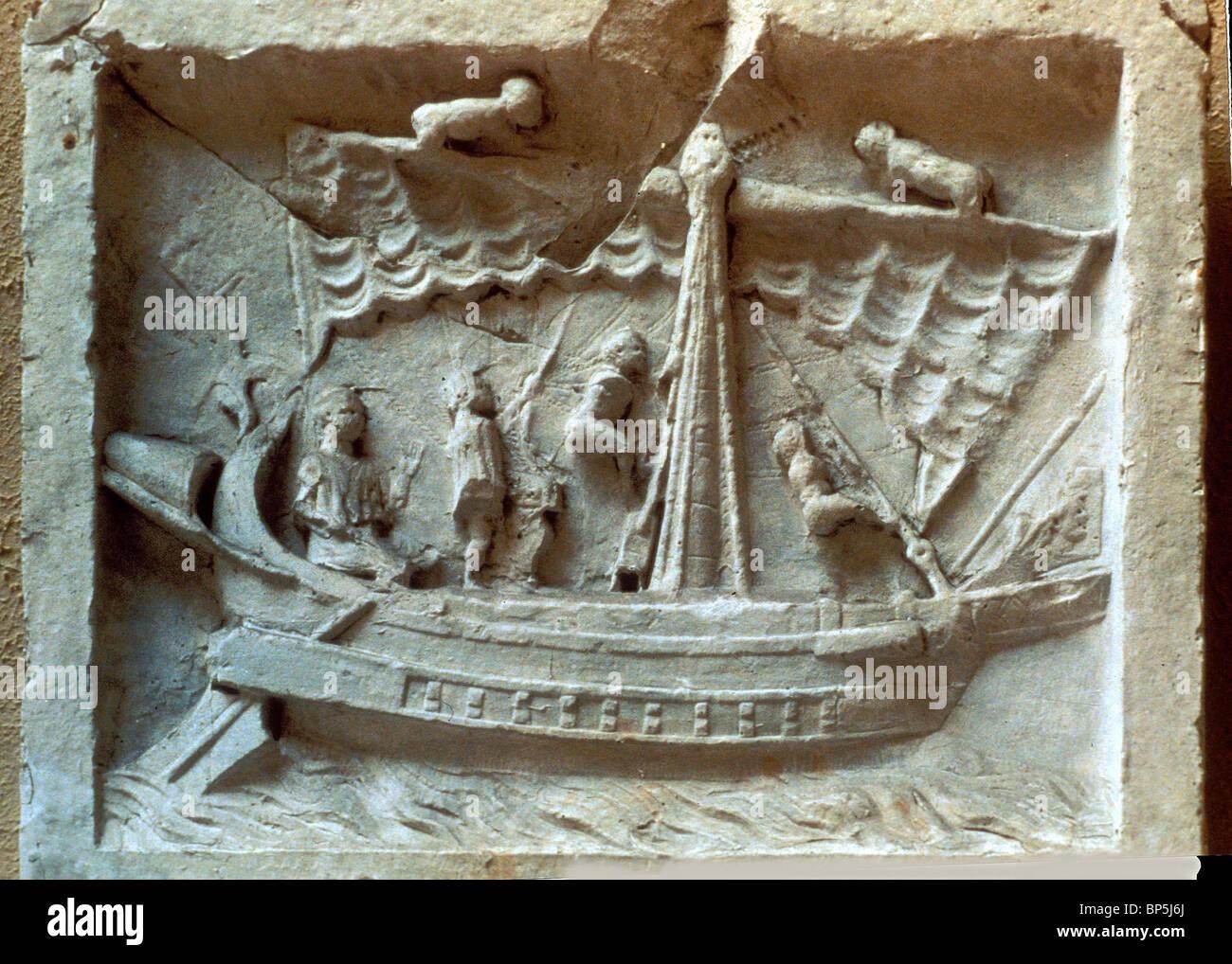 Roman merchant ship stone carving from pompei