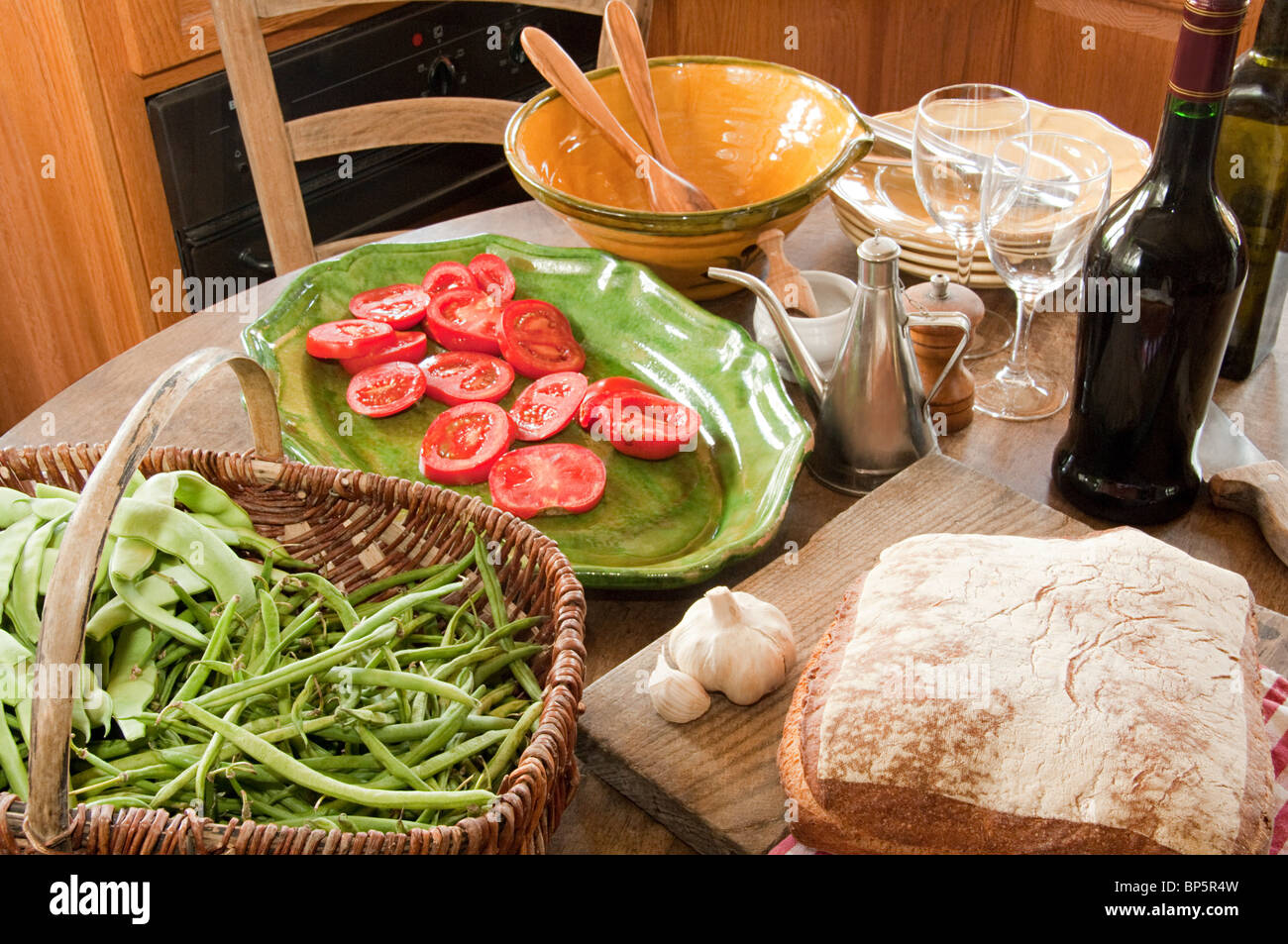 Food On Table In French Country Kitchen