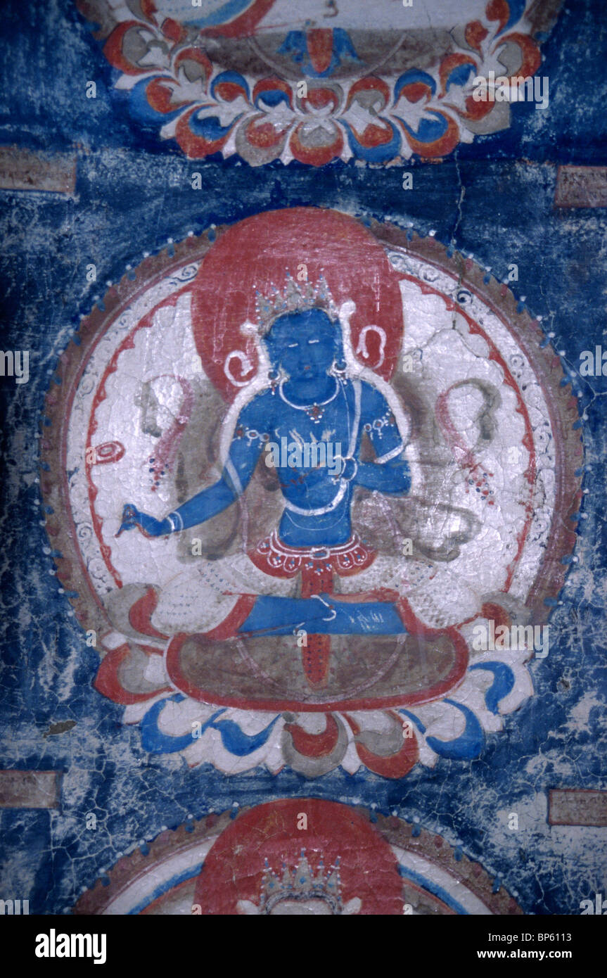 Mural wall painting of buddha in tholing western tibet for Buddha mural art