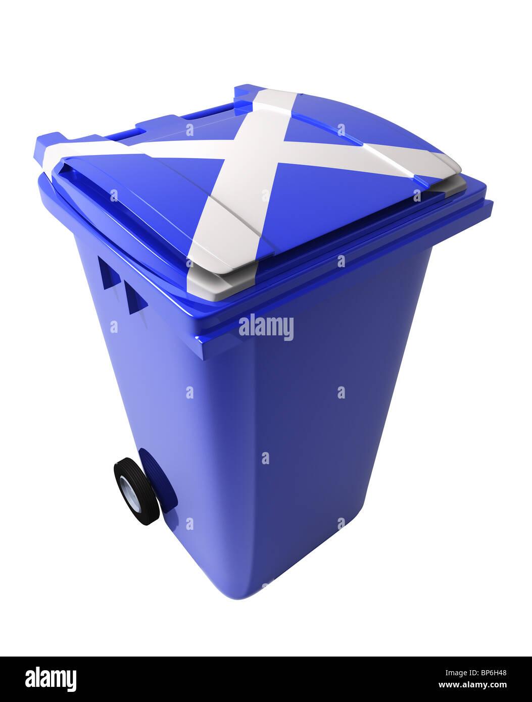 scottish flag wheelie bin stock photo royalty free image
