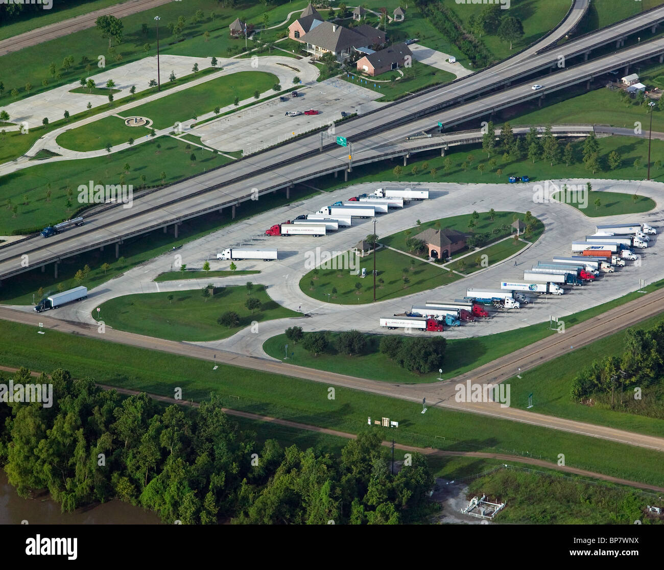 Russia aerial view above truck stop louisiana stock photo