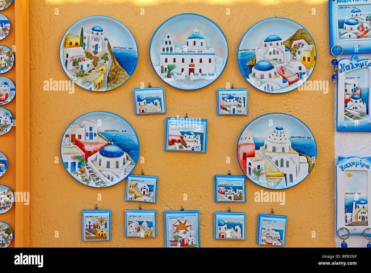 stock photo decorative wall plates at a souvenir shop in oa santorini island cyclades aegean islands greece - Decorative Wall Plates