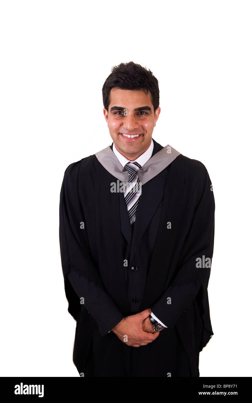 Happy young Asian university student graduate wearing graduation ...