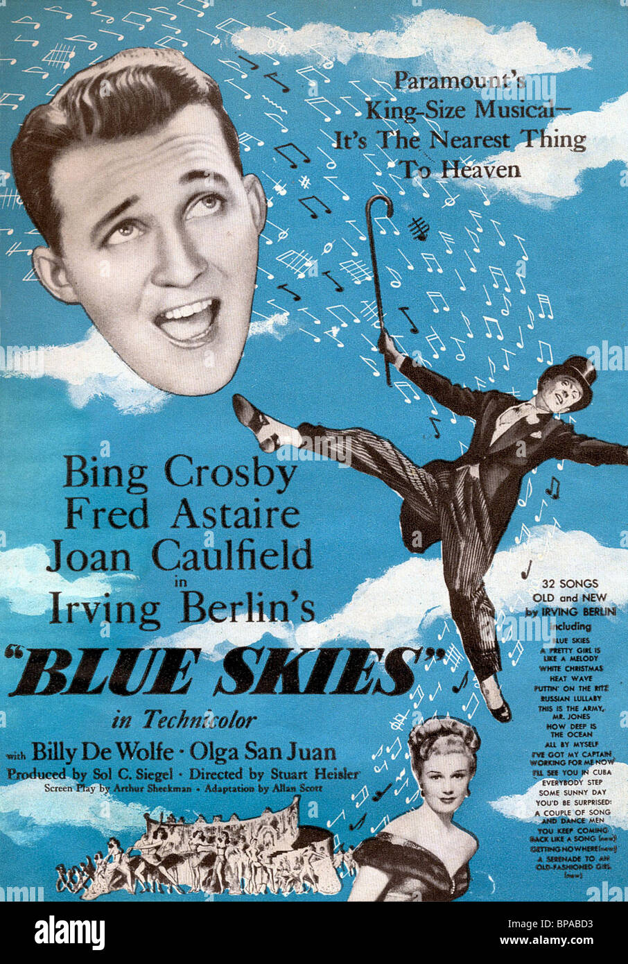 Bing crosby fred astaire joan caulfield film poster blue skies 1946 stock
