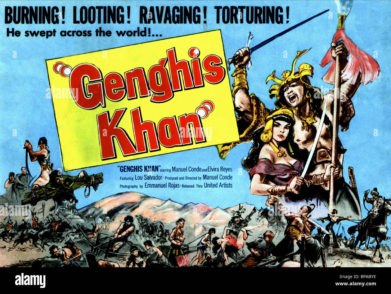 FILM POSTER GENGHIS KHAN (1950 Stock Photo, Royalty Free Image ...