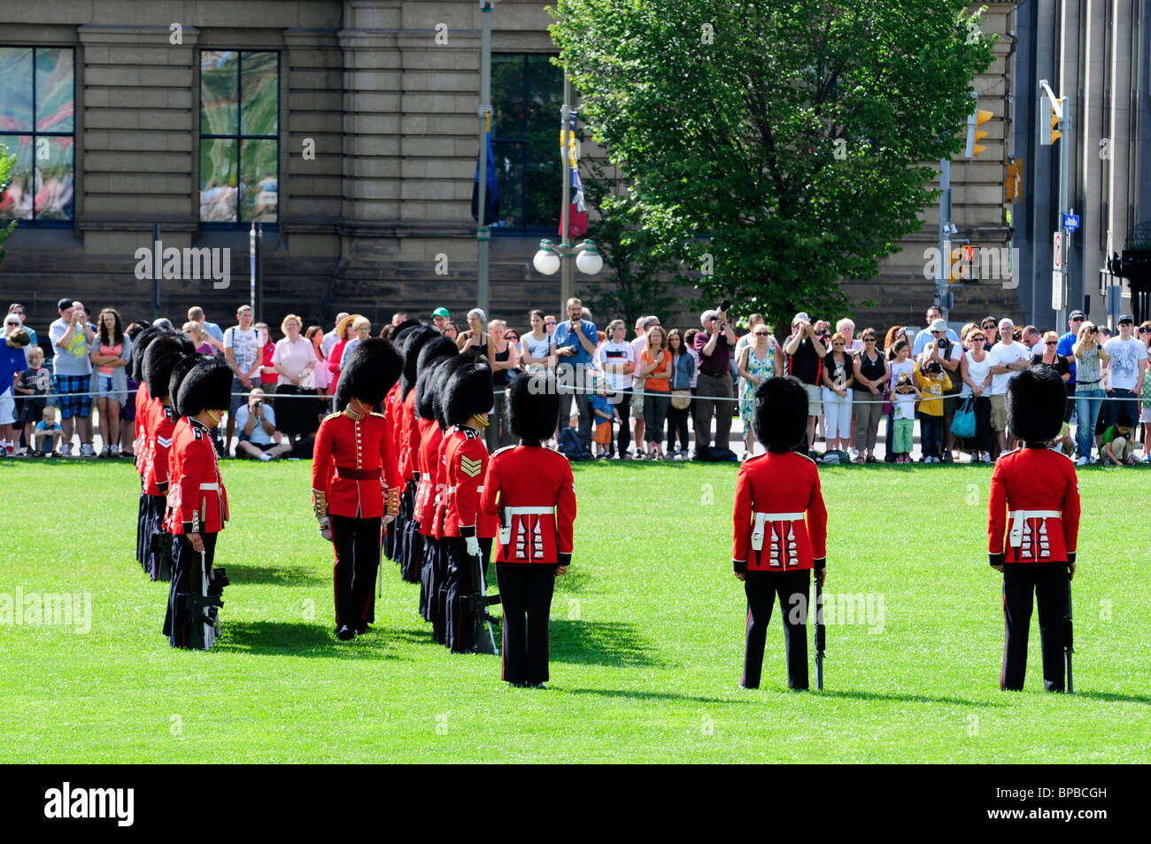 The governor general s foot guards - The Colour Guard Of The Governor General S Foot Guards Being Inspected On Parliament Hill Ottawa