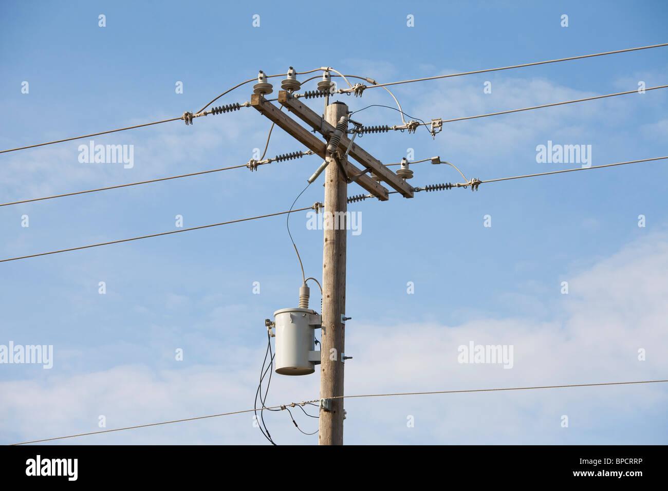 edmonton, alberta, canada; wooden power pole with a ...