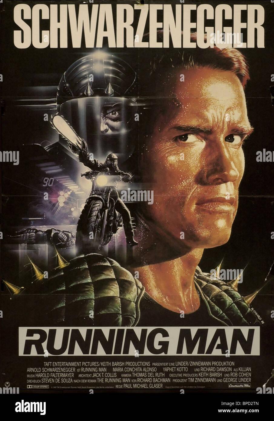 ARNOLD SCHWARZENEGGER POSTER THE RUNNING MAN (1987 Stock ...