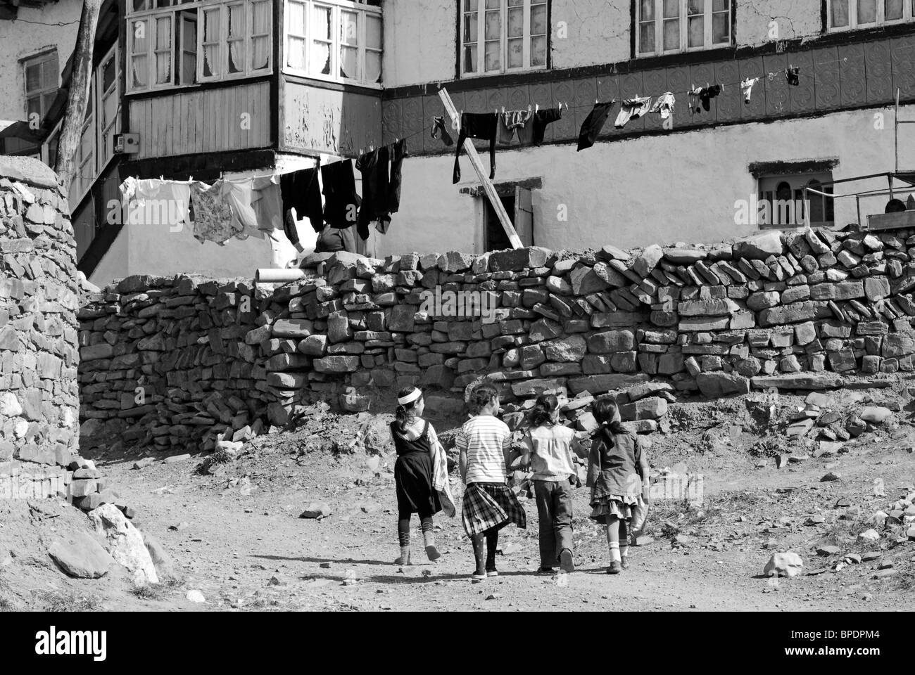 azerbaijan, xinaliq, view of old-fashioned house with clothesline