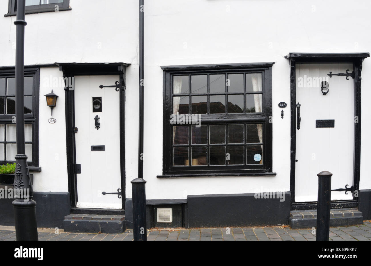 white walls and black window frames on fishpool street st albans uk