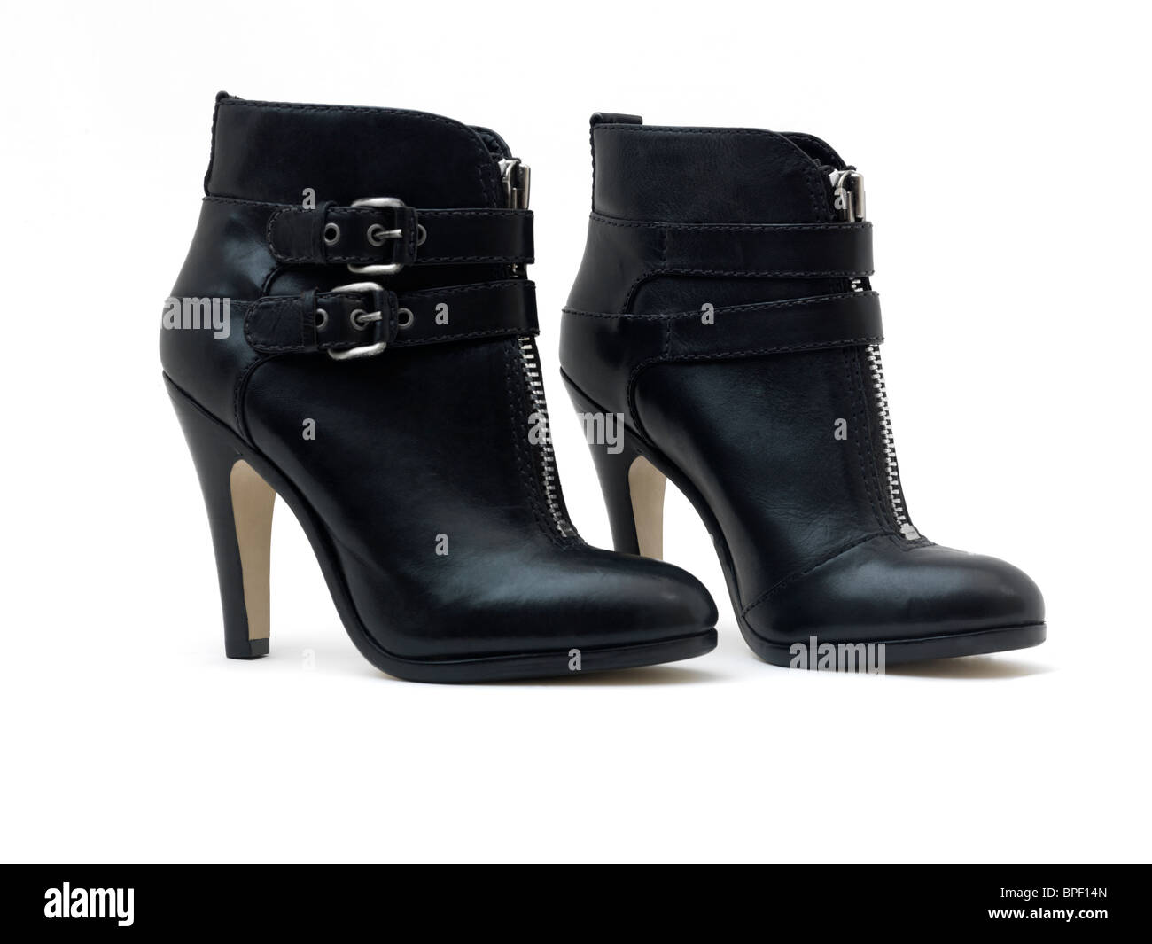 Pair of Ladies Black Leather High Heeled Stiletto Ankle Boots with ...