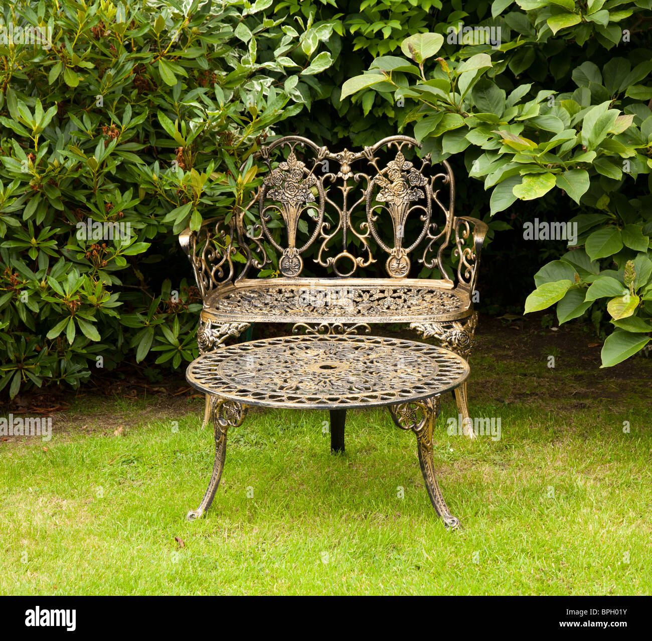 Colored cast - Old Fashioned Gold Colored Cast Iron Table And Bench On Formal Lawn