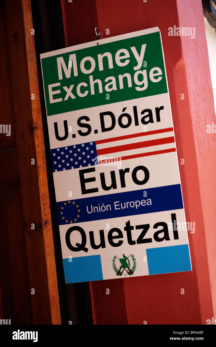 sign for a money exchange or bureau de change in san cristobal de las stock photo royalty free. Black Bedroom Furniture Sets. Home Design Ideas