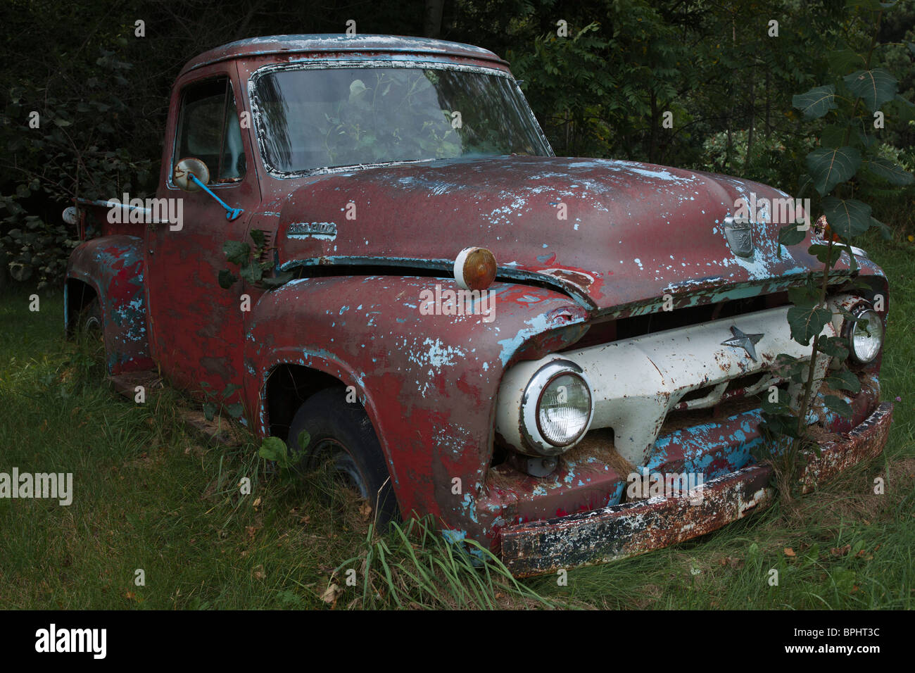 An old rusty F100 Ford pickup truck no not people nobody isolated ...