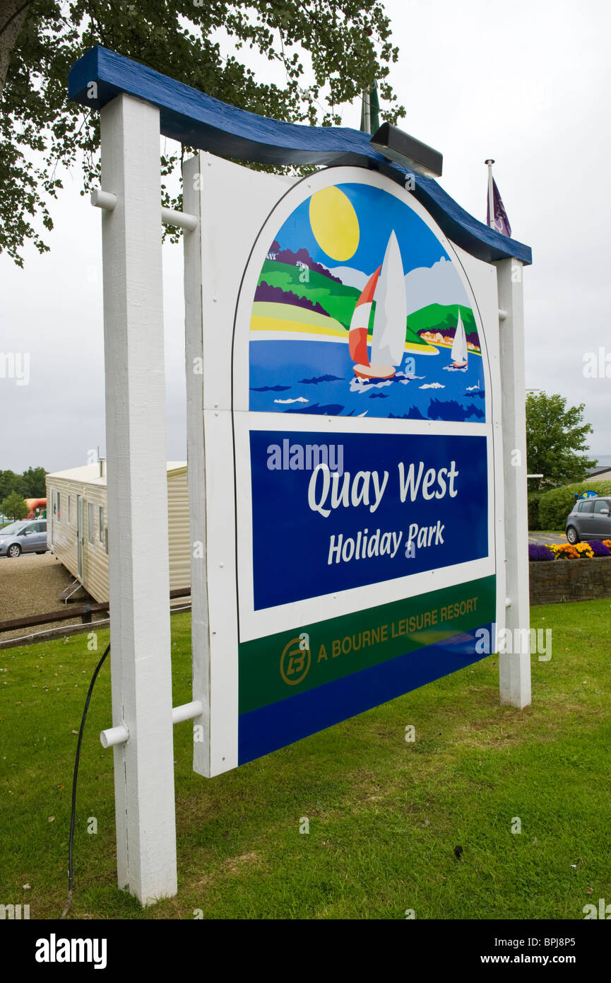 sign outside quay west holiday caravan park in the seaside. Black Bedroom Furniture Sets. Home Design Ideas
