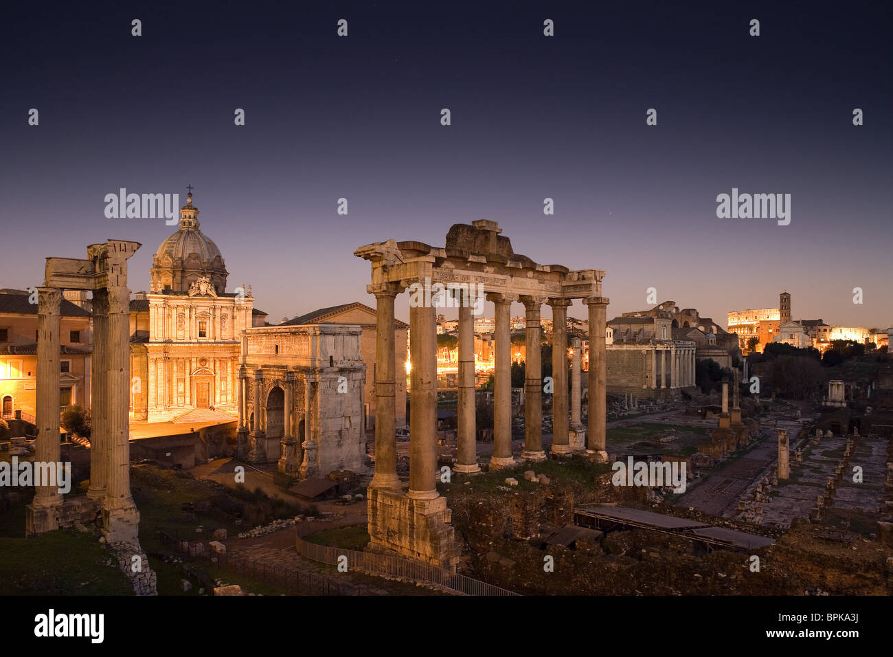 Stock Photo   View From Piazza Del Campidoglio Towards Temple Of Saturn And  Arch Of Septimius Severus, Roman Forum, Rome, Italy, Europe