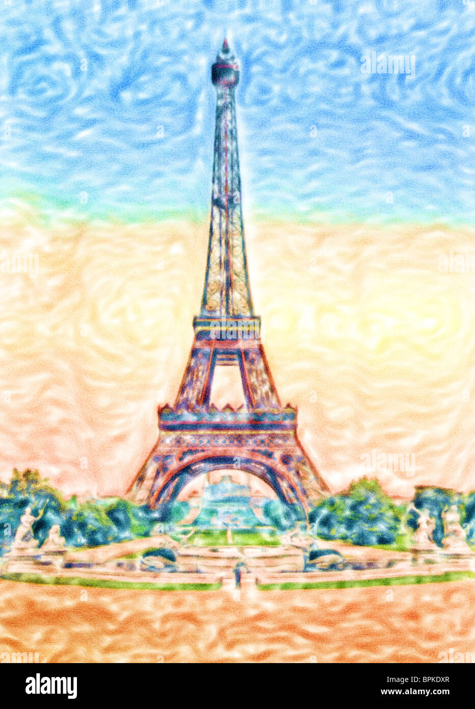 watercolor painting of eiffel tower paris france stock