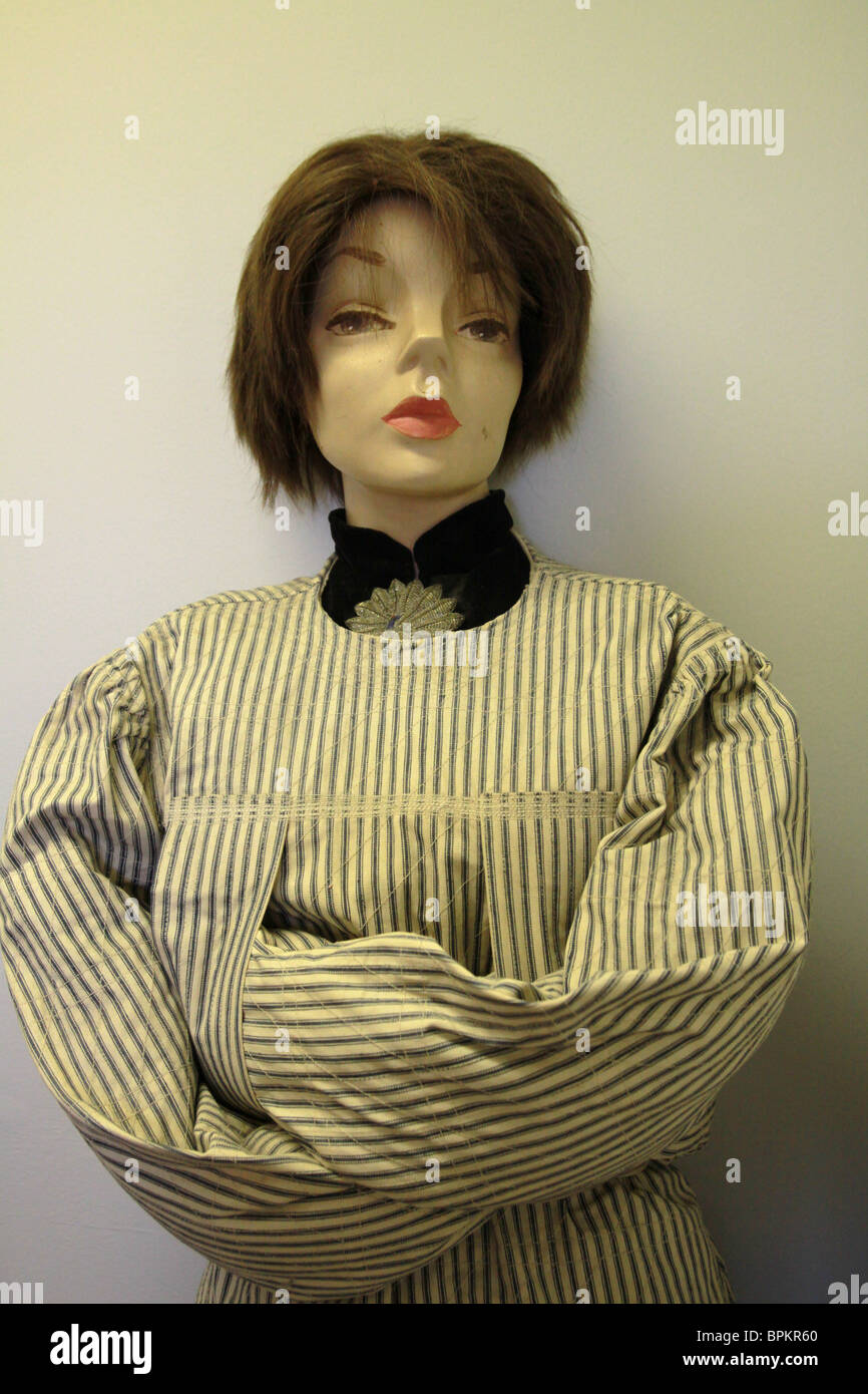 A mannequin in an antique straight jacket at the Glore Psychiatric ...