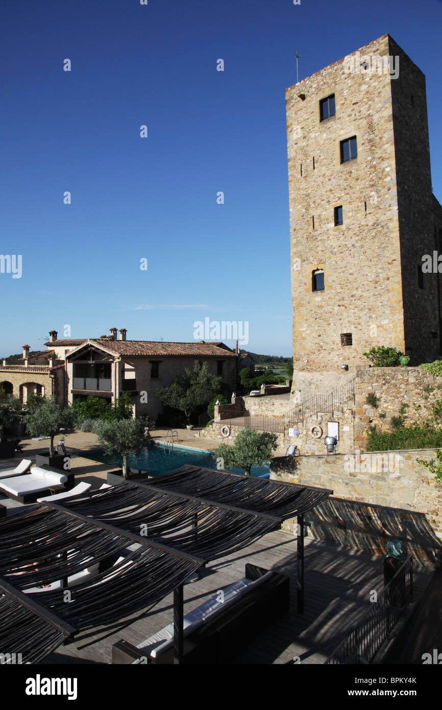 Stock photo the castle parador castell demporda gothic medieval 1301 luxury hotel near la bisbal catalonia in spain