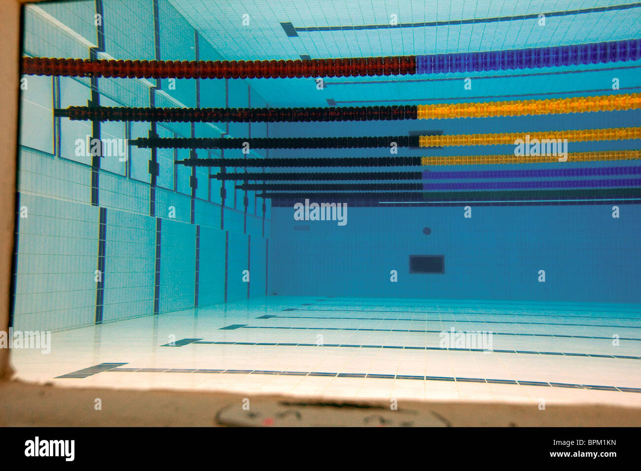 underwater view of the empty pool at the water cube 2008 olympic venue in beijing china