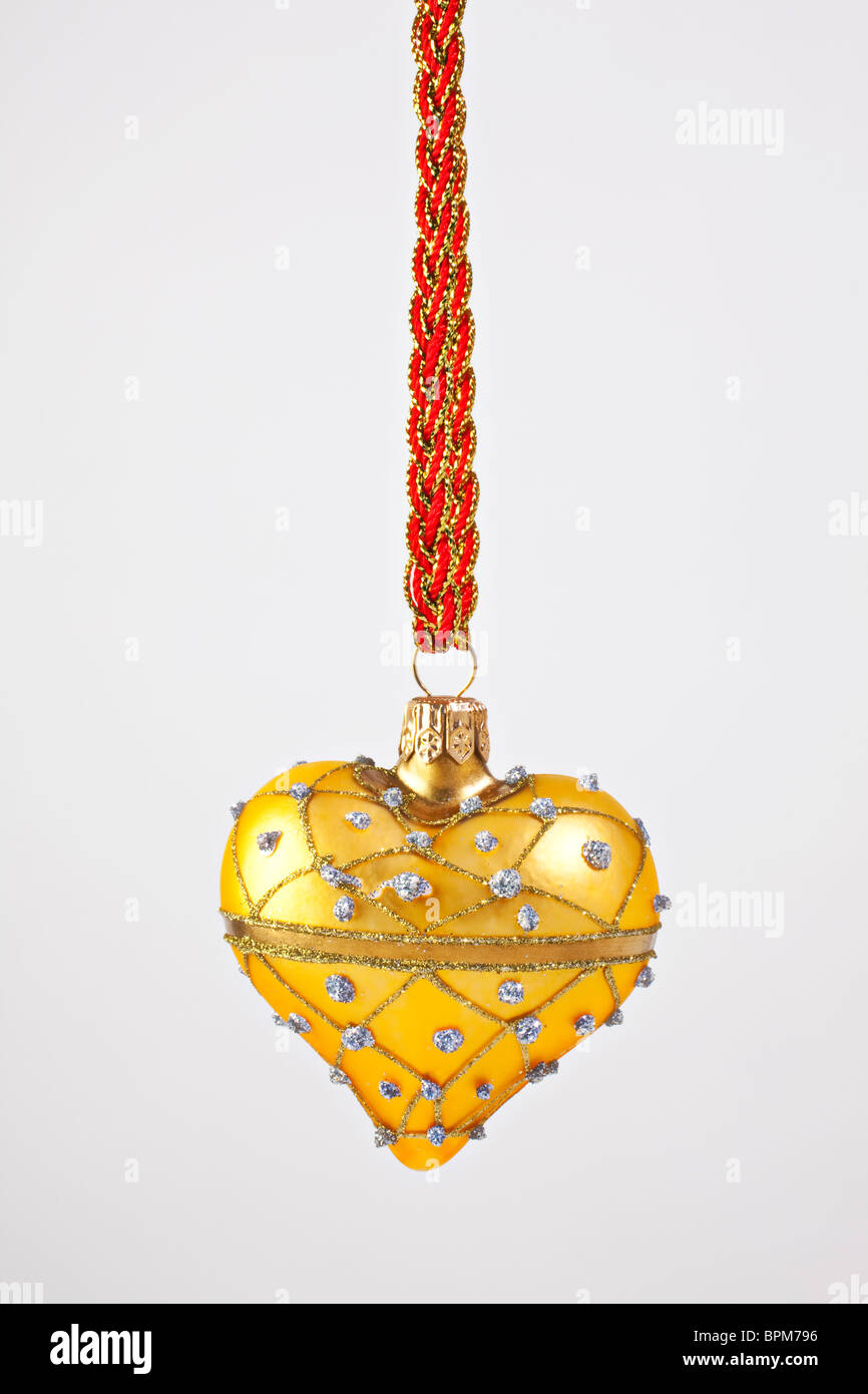 Gold heart Christmas ornament Stock Photo Royalty Free Image