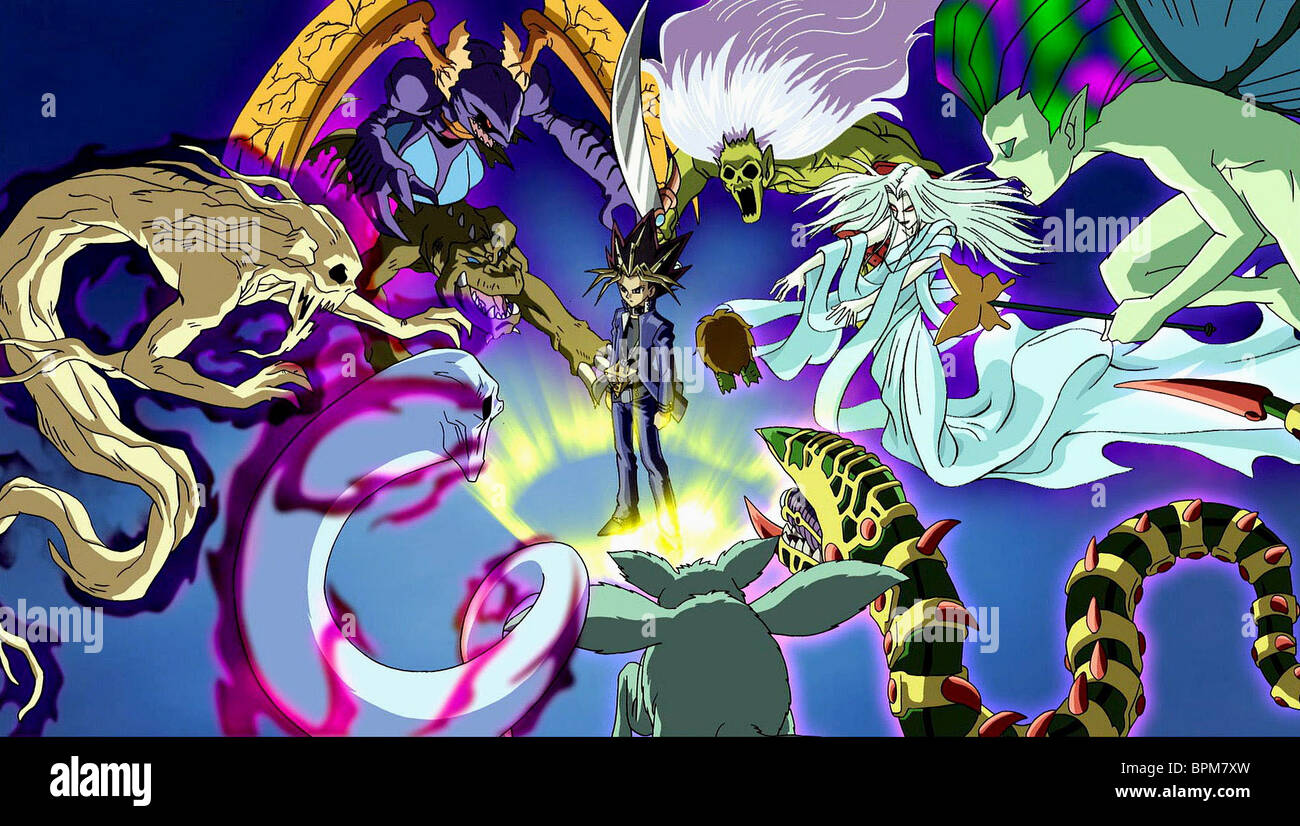 monsters confront yugi yu gi oh the movie 2004 stock photo
