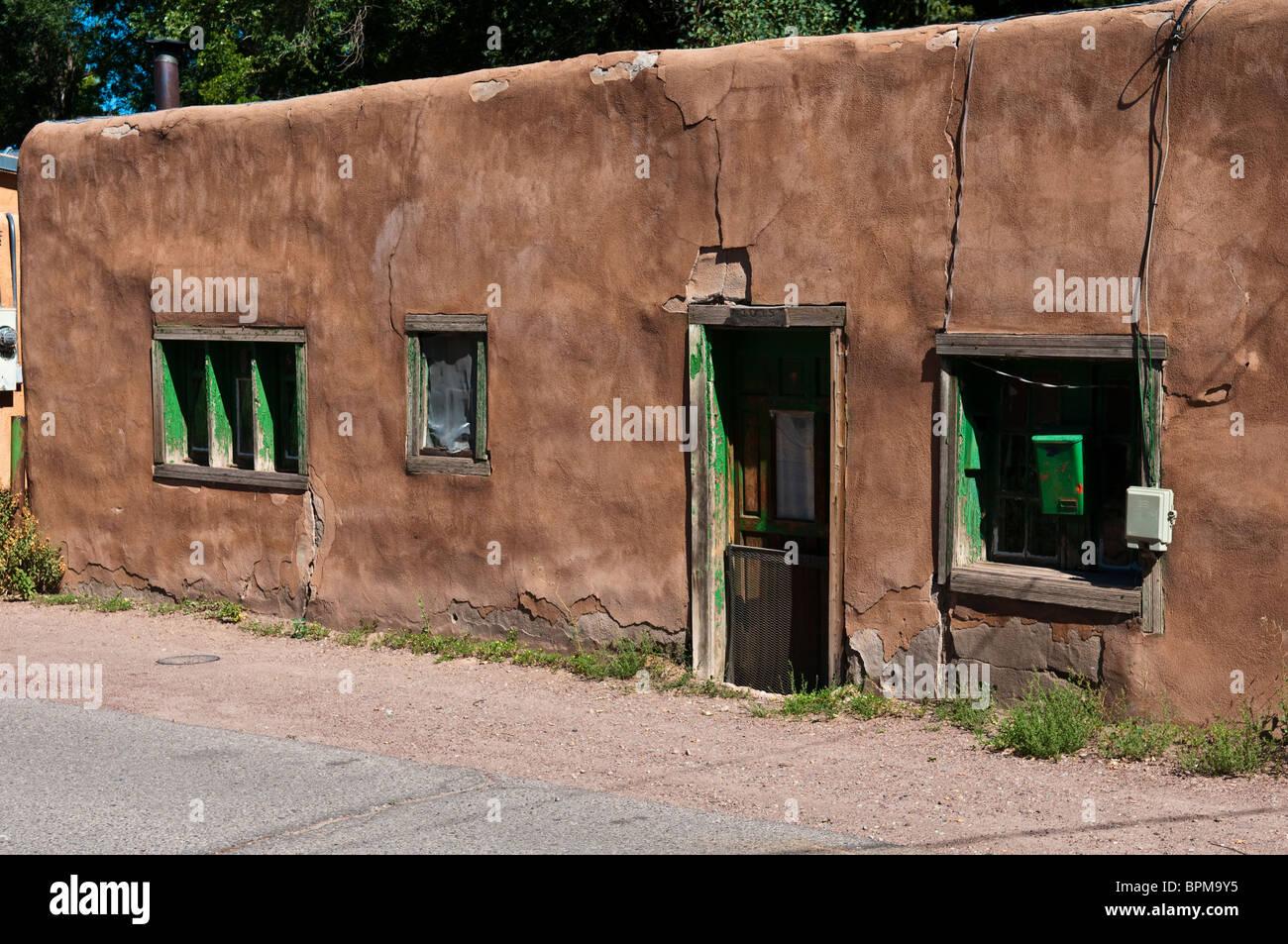 Old adobe house in Santa Fe New Mexico Stock Photo Royalty Free