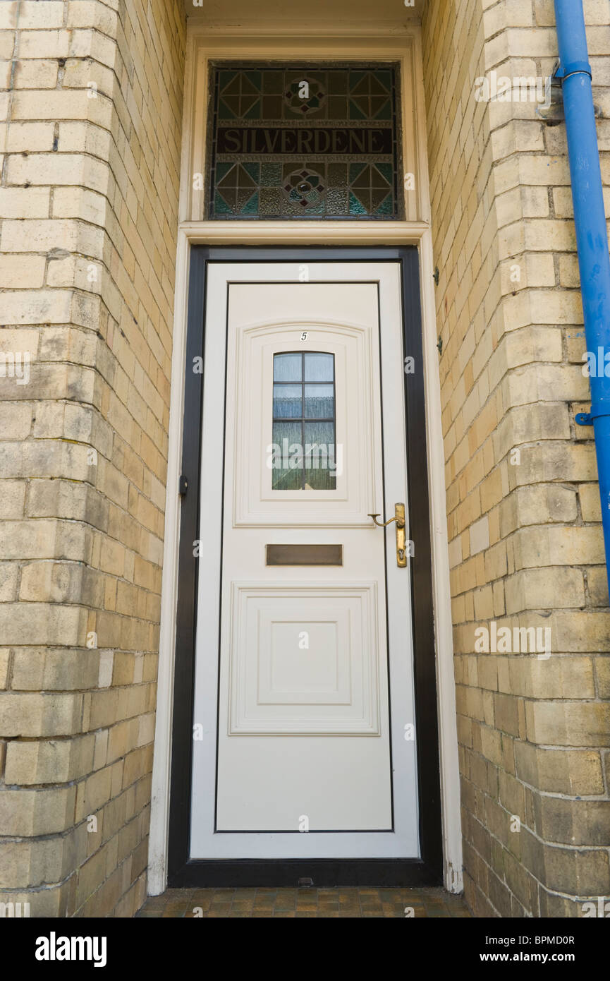 Modern White Upvc Front Door Of Brick Built Victorian House In Llandrindod  Wells Powys Mid Wales UK