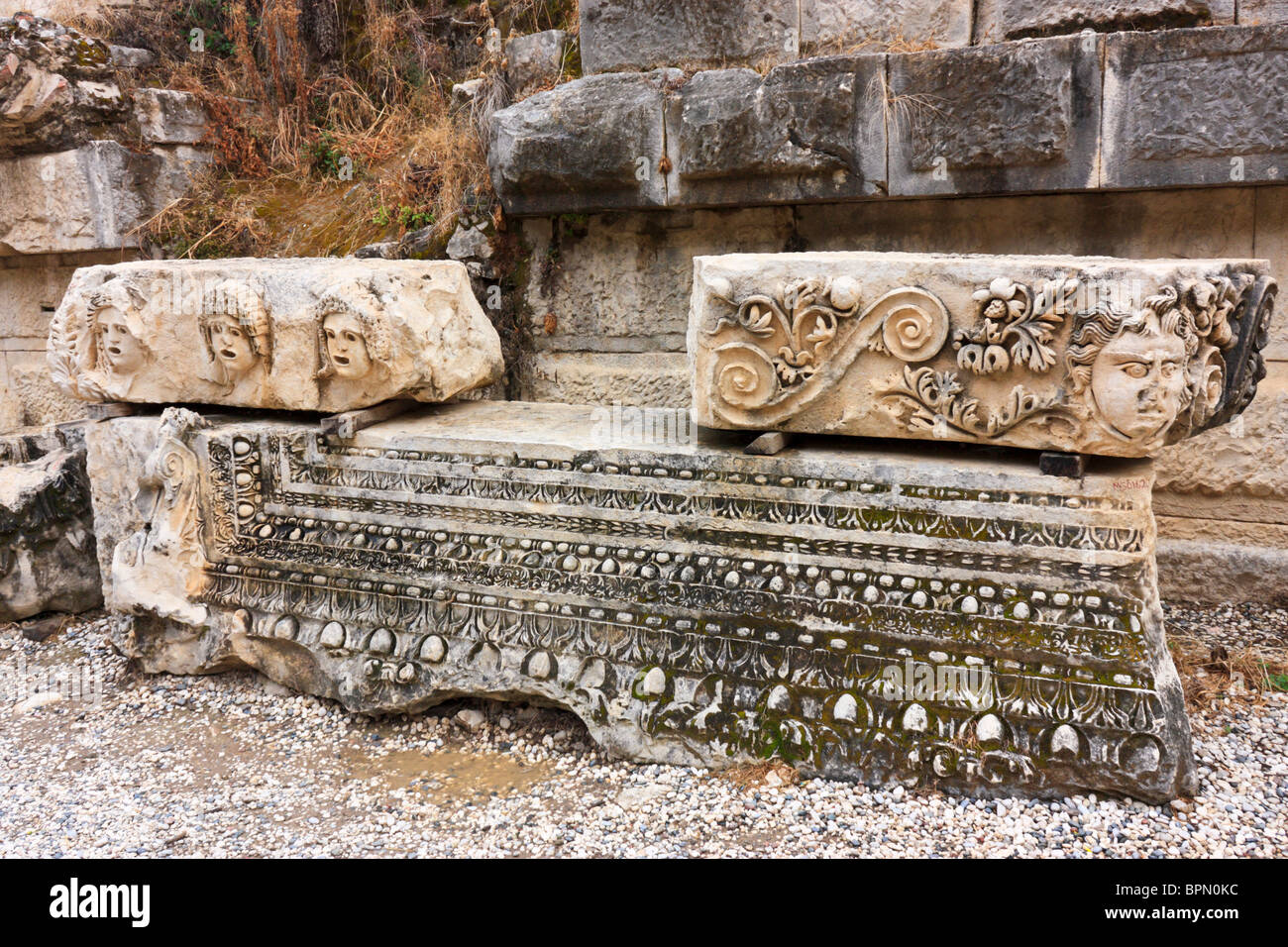Stone carvings in the ruins of amphitheater myra