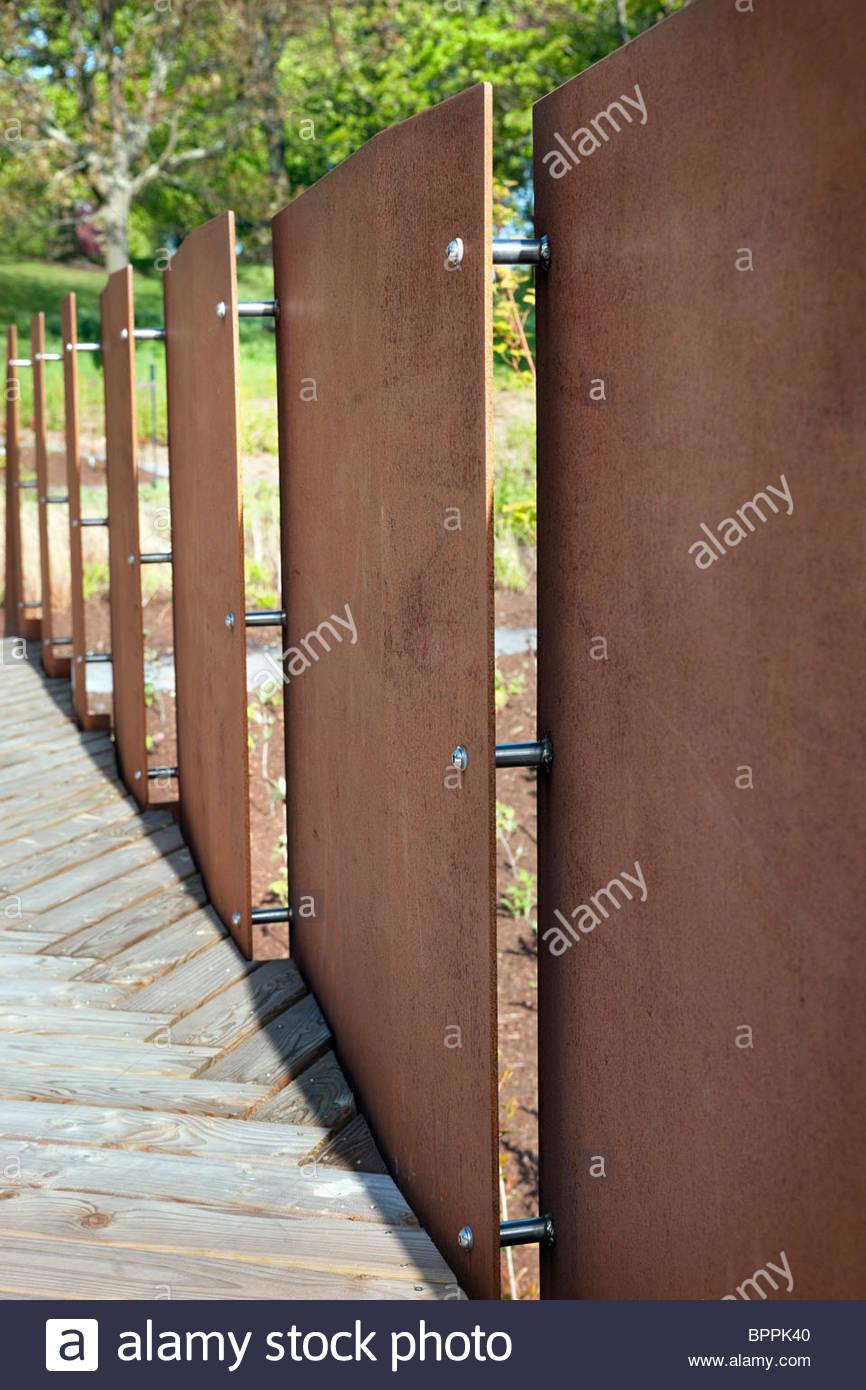 rusted u0027corten steelu0027 screens u0026 wooden deck at the new john hope gateway visitor centre at rbg edinburgh scotland